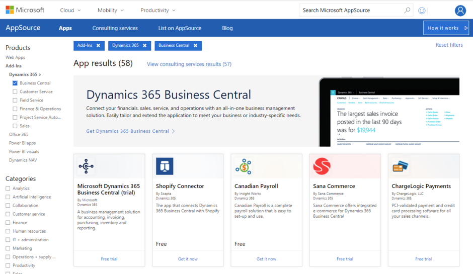 add on microsoft business central
