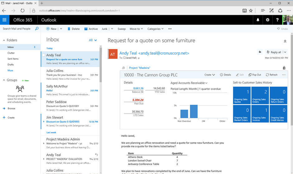Outlook Office 365 Business Central